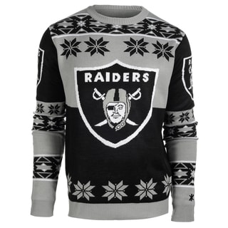 Forever Collectibles NFL Oakland Raiders Big Logo Crew Neck Ugly Sweater