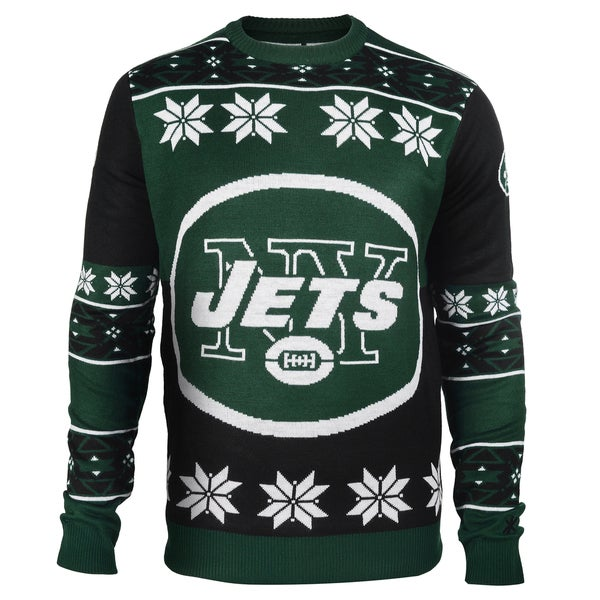 Forever Collectibles NFL New York Jets Big Logo Crew Neck Ugly Sweater