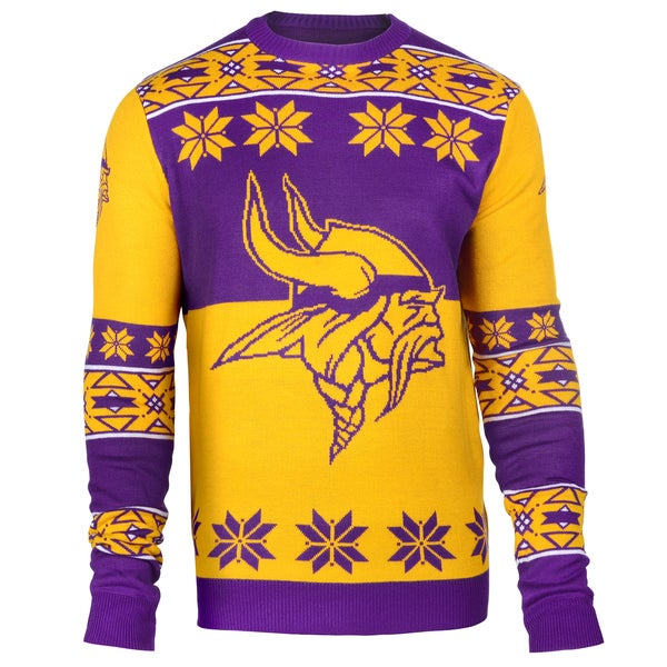 Forever Collectibles NFL Minnesota Vikings Big Logo Crew Neck Ugly Sweater