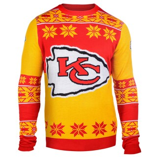 Forever Collectibles NFL Kansas City Chiefs Big Logo Crew Neck Ugly Sweater