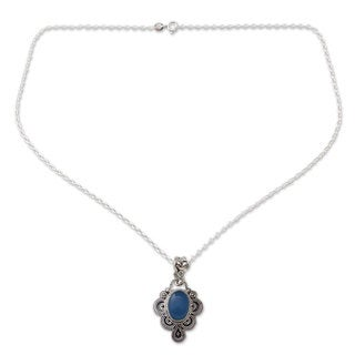 Handmade Sterling Silver Blue Antique Radiance Chalcedony Pendant Necklace (India)