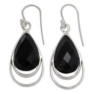 Handcrafted Sterling Silver 'Delhi Glam' Onyx Earrings (India)