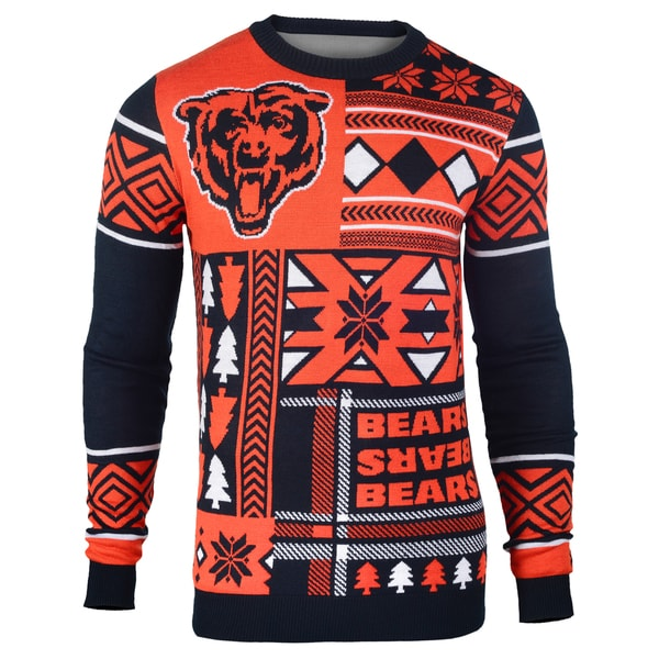 info for 96e43 7cd81 Forever Collectibles NFL Chicago Bears Big Logo Crew Neck Ugly Sweater