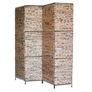 Proman Products 4 Panel Jakarta Folding Screen with Water Hyacinth Decoration