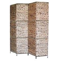 Proman Products 4 Panel Jakarta Folding Screen with Water Hyacinth Decoration