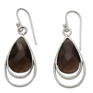 Handcrafted Sterling Silver 'Delhi Glam' Smoky Quartz Earrings (India)