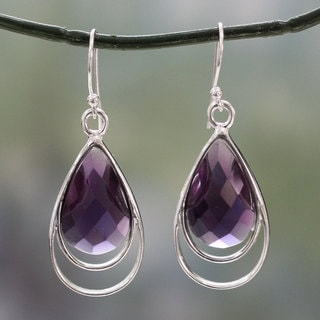 Handcrafted Sterling Silver 'Delhi Glam' Amethyst Earrings (India)