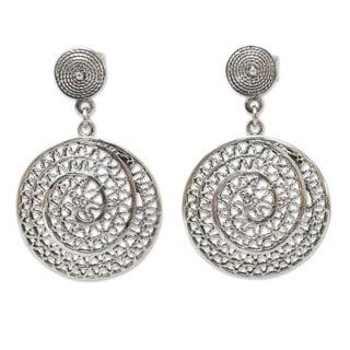 Handcrafted Sterling Silver 'Swirl' Earrings (Peru)