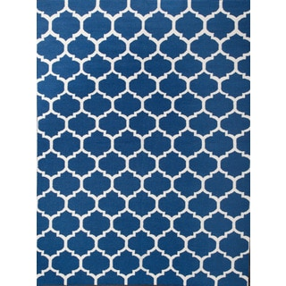 ABC Accents Moroccan Trellis Frontier Blue Wool Rug (8' x 11')