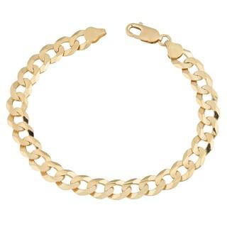 Fremada 14k Yellow Gold 9-mm High Polish Men's Solid Curb Link Bracelet