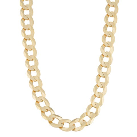 Fremada 14k Yellow Gold 7.8-mm High Polish Men's Solid Curb Link Necklace