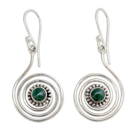 Handmade Spiral Forest Sterling Silver Malachite Earrings (India)