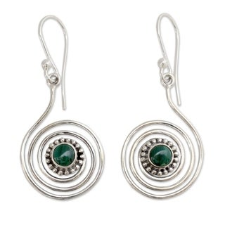 Handcrafted Sterling Silver 'Spiral Forest' Malachite Earrings (India)