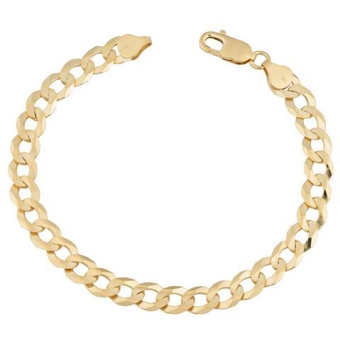 Fremada 14k Yellow Gold 7.8-mm High Polish Men's Solid Curb Link Bracelet