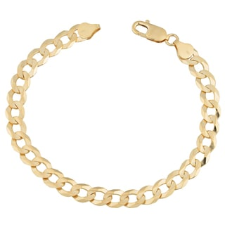 Fremada 14k Yellow Gold 7.8-mm High Polish Men's Solid Curb Link Bracelet