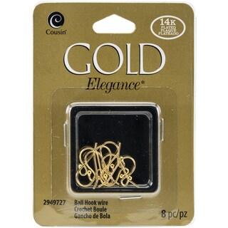 14k Plated Gold Elegance Beads & FindingsSmall Ball Hooked Earrings 8/Pkg