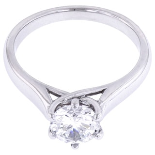 14k White Gold Cubic Zirconia Solitaire Semi-mount Engagement Ring