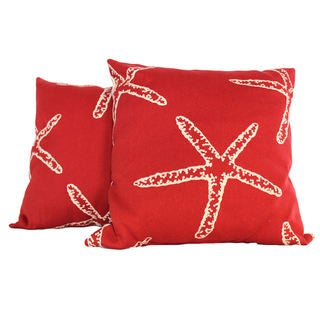 Starfish Red Throw Pillow (Set of 2)