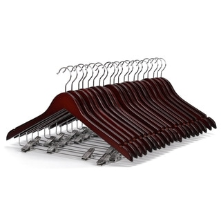 J.S. Hanger Walnut Polished Gugertree Wooden Suit Pant Hangers with Clips (Set of 20)