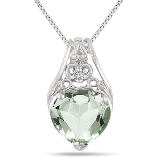 Marquee Jewels Sterling Silver 3ct Green Amethyst and Diamond Accent Engraved Heart Pendant
