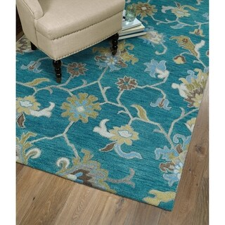 """Christopher Ziegler Turquoise Hand-Tufted Rug (2'6"""" x 8')"""