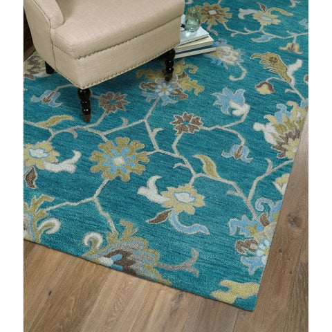 Christopher Ziegler Turquoise Hand-Tufted Rug - 2' x 3'