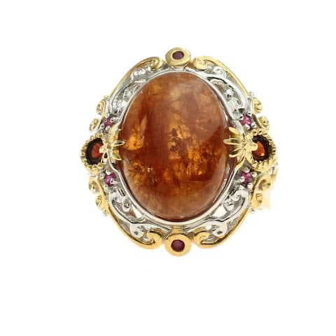 Michael Valitutti Palladium Silver Baltic Amber and Ruby Ring