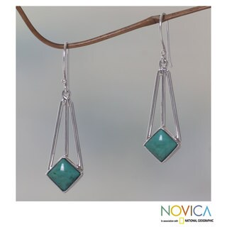 Sterling Silver 'Counterpoint' Turquoise Earrings (Indonesia)