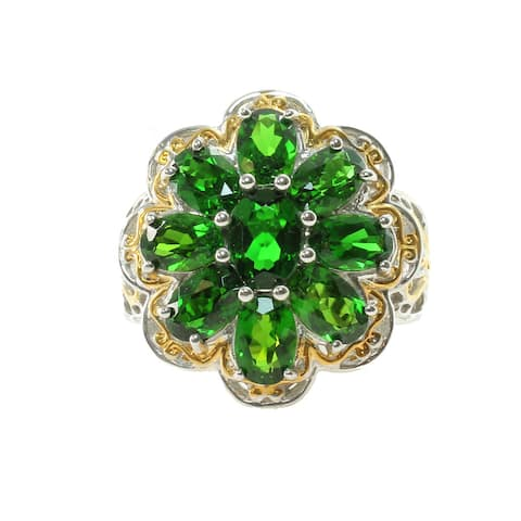 One-of-a-Kind Michael Valitutti Flower Chrome Diopside Palladium Silver Ring