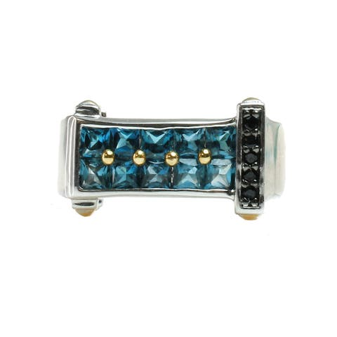 One-of-a-Kind Michael Valitutti Mens London Blue Topaz and Black Spinel Palladium Silver Ring
