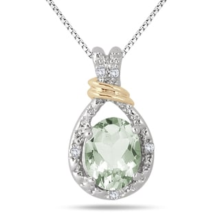 Marquee Jewels Yellow Goldplated Sterling Silver 2Ct Green Amethyst Diamond Accent Pendant