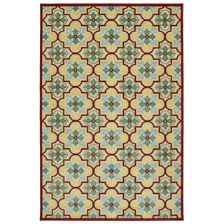 Indoor/Outdoor Luka Gold Tile Rug (2'1 x 4'0)