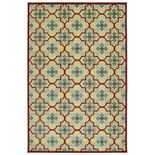 Indoor/Outdoor Luka Gold Tile Rug (8'8 x 12'0)