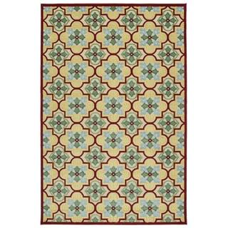Indoor/Outdoor Luka Gold Tile Rug (8'8 x 12'0)
