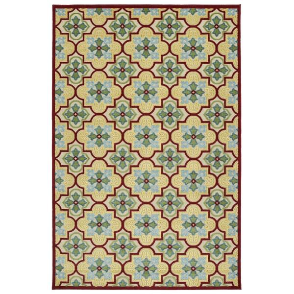 Indoor/Outdoor Luka Gold Tile Rug - 7'10 x 10'8