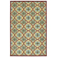 Indoor/Outdoor Luka Gold Tile Rug - 7'10 x 10'8