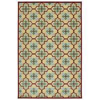 Indoor/Outdoor Luka Gold Tile Rug - 5'0 x 7'6