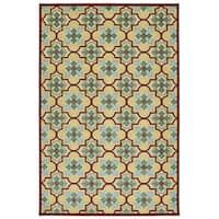 Indoor/Outdoor Luka Gold Tile Rug - 3'10 x 5'8