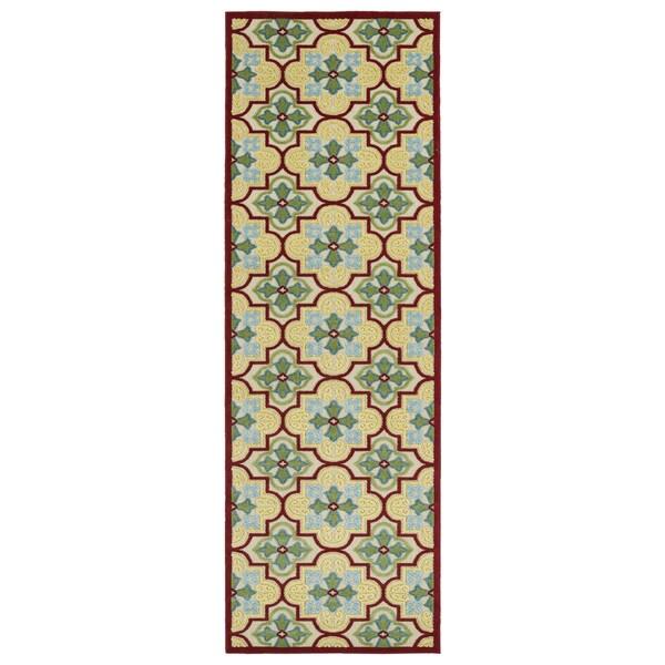 """Indoor/Outdoor Luka Gold Tile Rug - 2'6"""" x 7'10"""""""