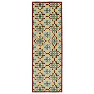 Indoor/Outdoor Luka Gold Tile Rug (2'6 x 7'10)