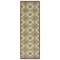 Indoor/Outdoor Luka Gold Tile Rug (2'6 x 7'10)