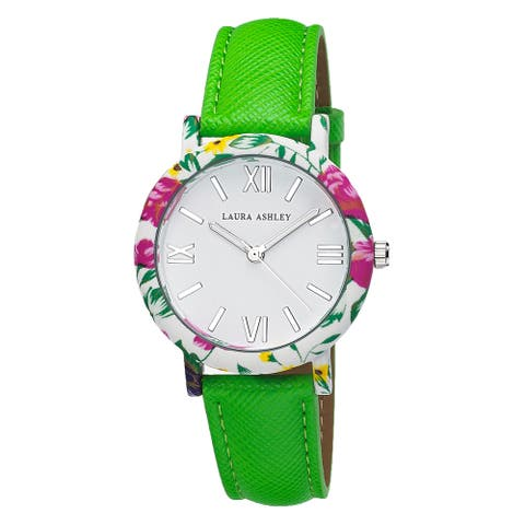 Laura Ashley Ladies Band Floral Bezel Watch - Green