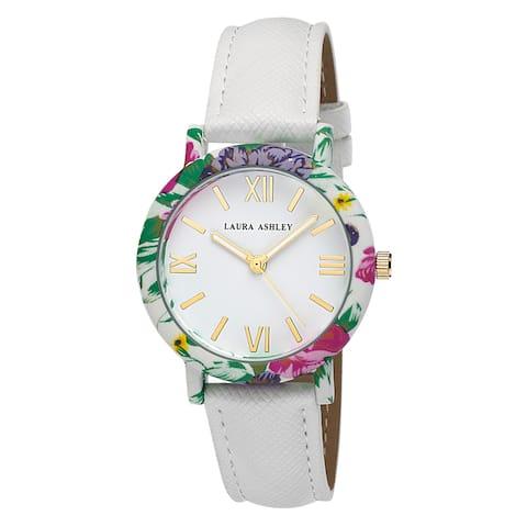 Laura Ashley Women's White Band Floral Bezel Watch
