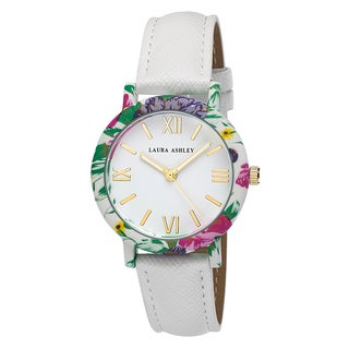 Laura Ashley Women's White Band Floral Bezel Watch