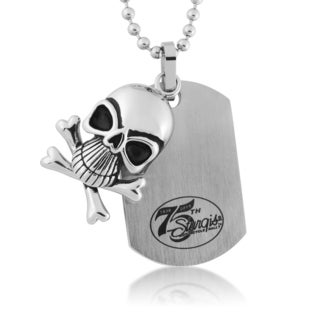 Stainless Steel 75th Sturgis Rally Dog Tag and Skull Necklace
