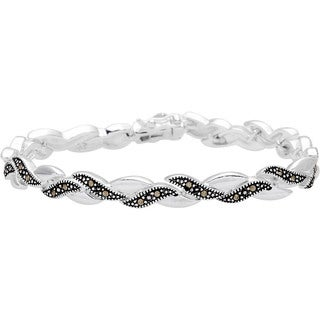 Silverplated Marcasite Over-under 7.5-inch Link Bracelet