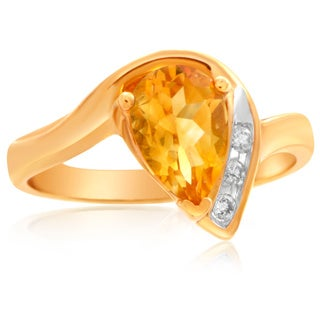 10k Yellow Gold Teardrop Citrine and Diamond Accent Ring