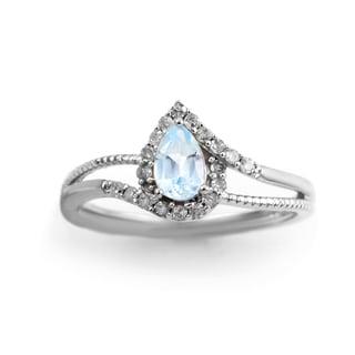 14k White Gold Aquamarine and 1/5ct TDW Diamond Ring