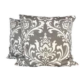 Royal Damask Grey Throw Pillow (Set of 2)