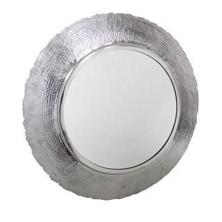 Aurelle Home Dylan Round Silver Metal Mirror